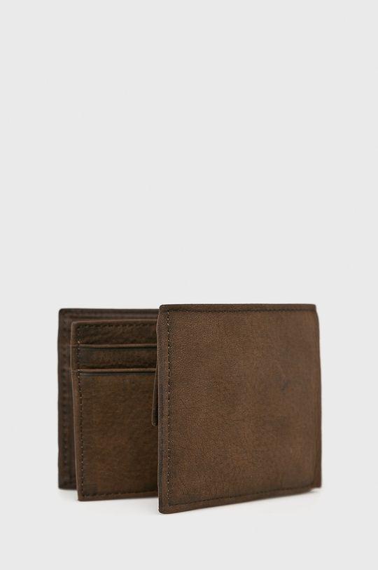Tommy Hilfiger - Portfel skórzany Johnson Mini ciemny brązowy