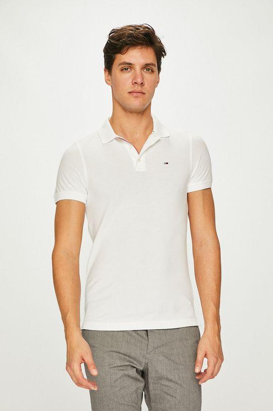 bílá Tommy Jeans - Polo tričko Pánský