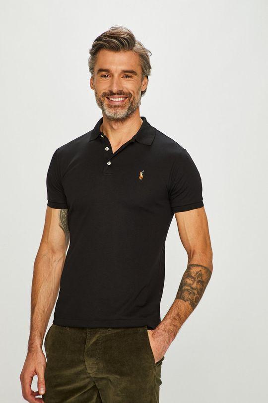 czarny Polo Ralph Lauren - T-shirt/polo 710685514002 Męski