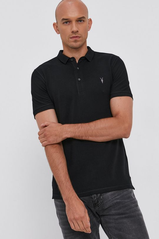 černá AllSaints - Polo tričko Reform Polo Pánský