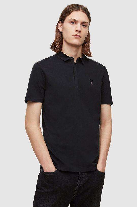 černá AllSaints - Polo tričko Brace SS Polo Pánský