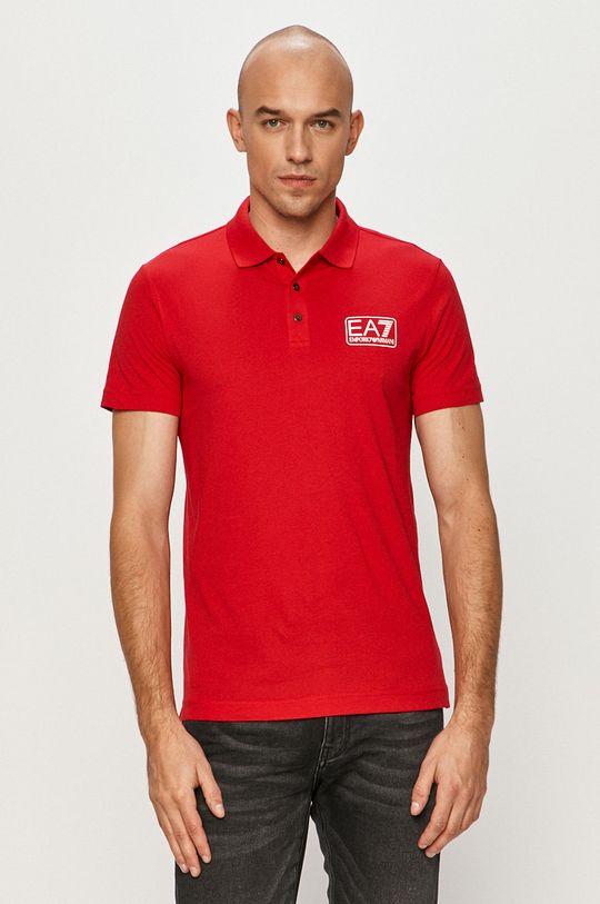 červená EA7 Emporio Armani - Polo tričko Pánský