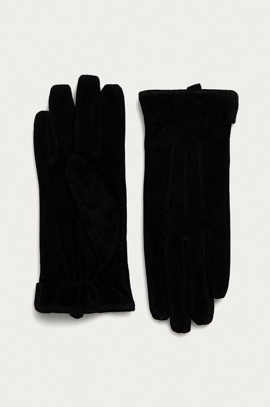 čierna Pieces - Kožené rukavice Dámsky