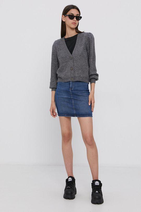 Pieces - Spódnica jeansowa niebieski