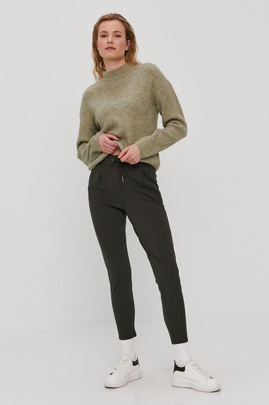 Vero Moda - Spodnie oliwkowy