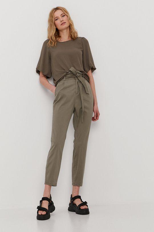 Vero Moda - Kalhoty tlumená zelená