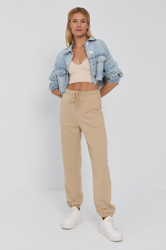 Vero Moda - Spodnie beżowy