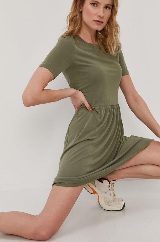 Pieces - Sukienka oliwkowy