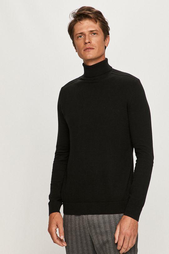 czarny Selected - Sweter Męski