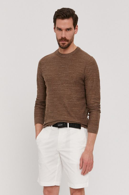 brązowy Selected - Sweter Męski