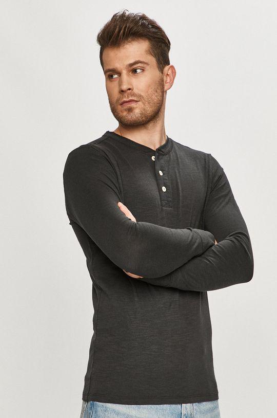 černá Selected - Tričko s dlouhým rukávem Pánský