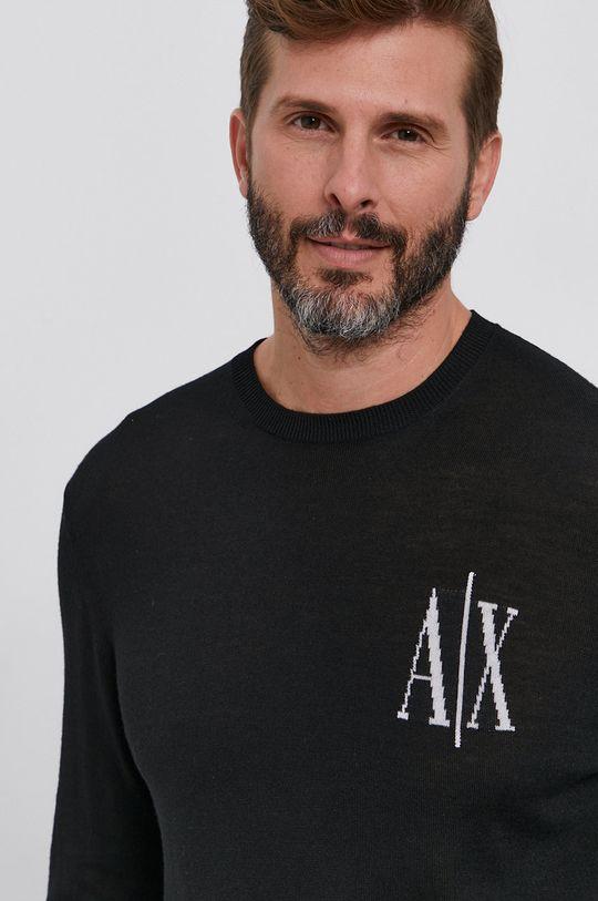 czarny Armani Exchange - Sweter wełniany Męski