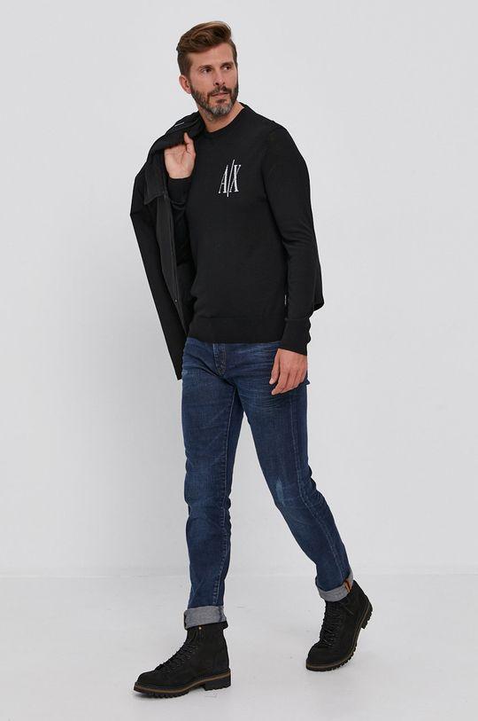Armani Exchange - Sweter wełniany czarny
