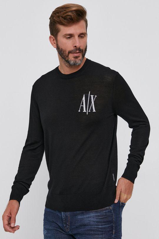 czarny Armani Exchange - Sweter wełniany