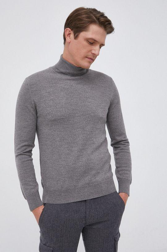 szary Marc O'Polo - Sweter wełniany Męski