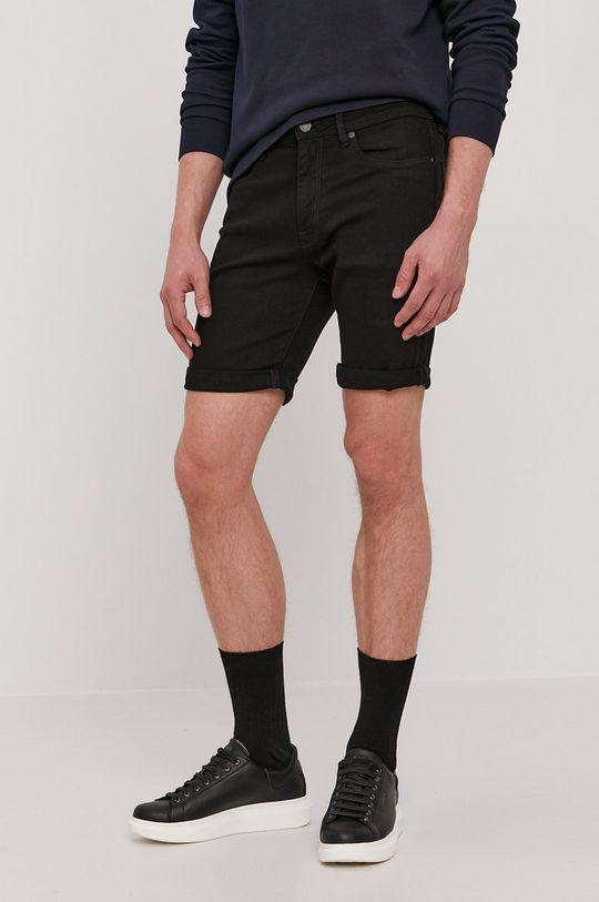 czarny Selected - Szorty jeansowe Męski
