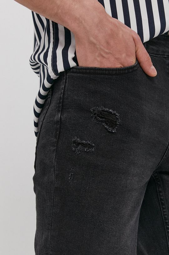 grafitowy Only & Sons - Szorty jeansowe