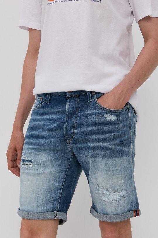 modrá Jack & Jones - Rifľové krátke nohavice Pánsky