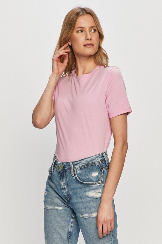 ostry różowy Pieces - T-shirt Damski
