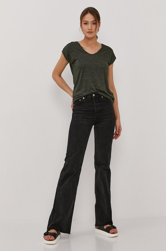 Pieces - T-shirt ciemny zielony