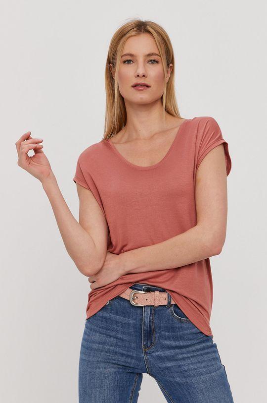 Pieces - T-shirt czerwony róż