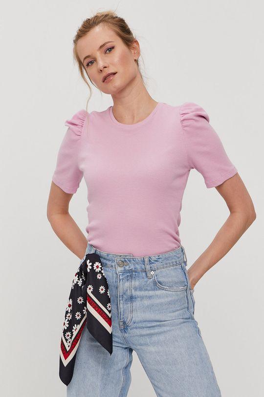 różowy Pieces - T-shirt Damski