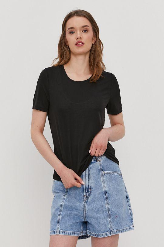 czarny Pieces - T-shirt Damski