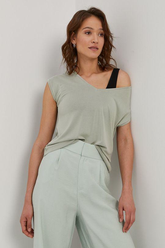 jasny zielony Pieces - T-shirt Damski