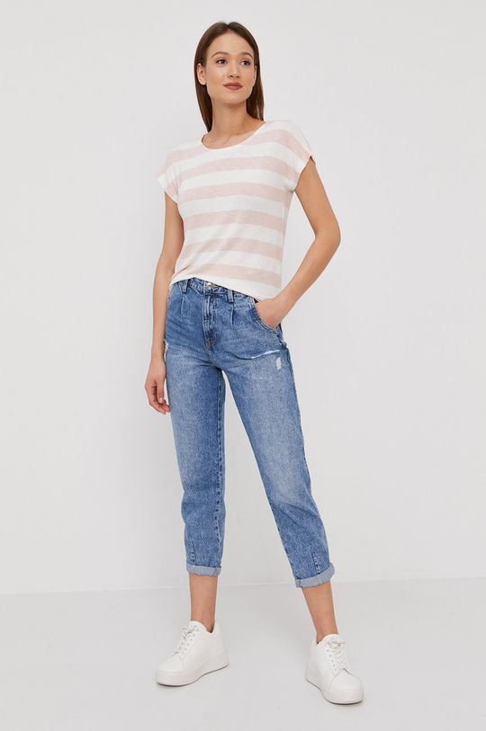 Vero Moda - T-shirt pastelowy różowy