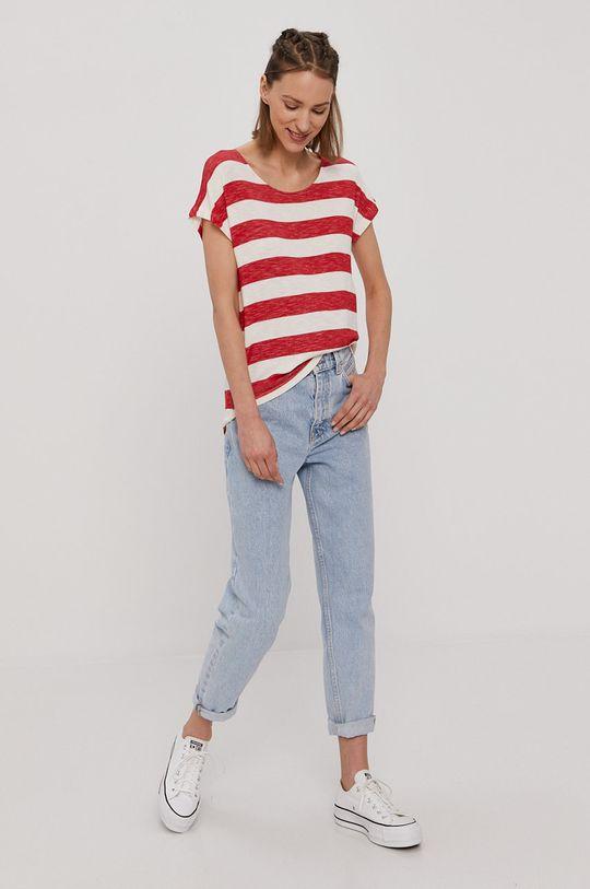 Vero Moda - T-shirt ostry czerwony
