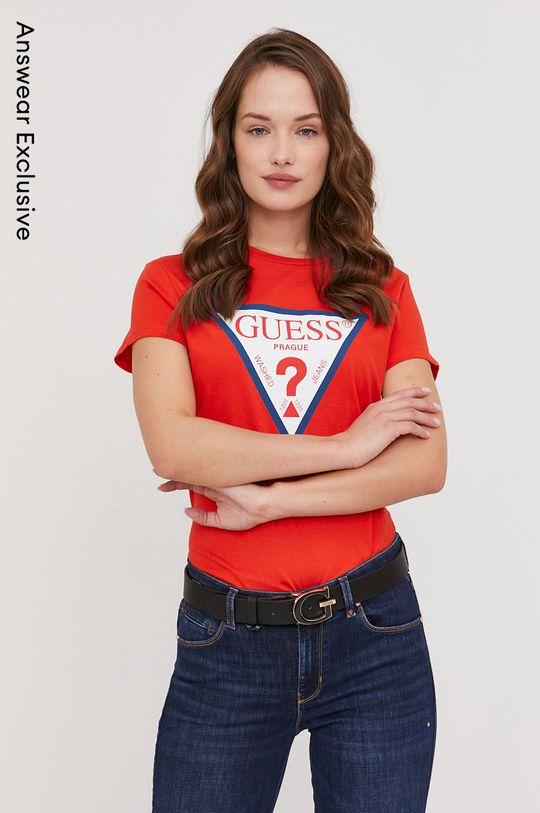 červená Guess - Tričko z narozeninové kolekce Dámský