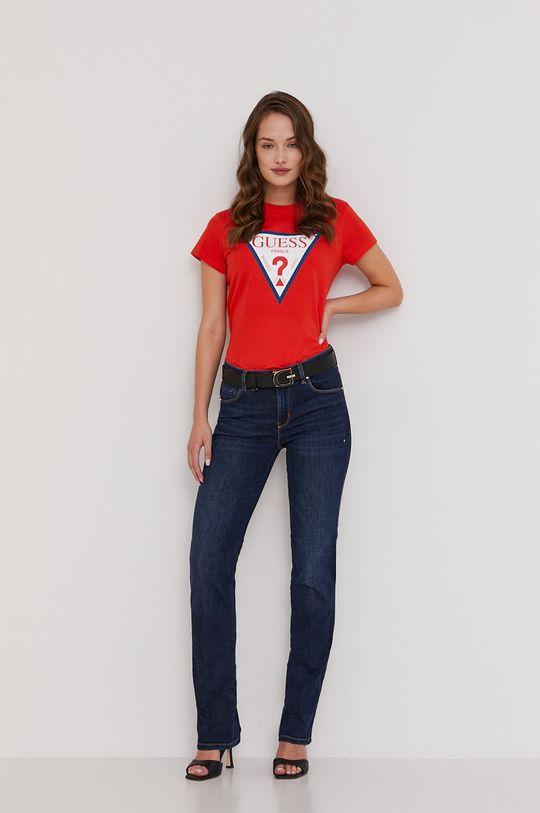 Guess - Tričko z narozeninové kolekce červená