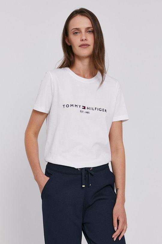 biela Tommy Hilfiger - Bavlnené tričko Dámsky