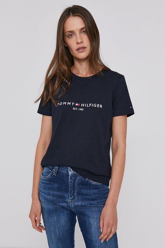 granatowy Tommy Hilfiger - T-shirt bawełniany Damski