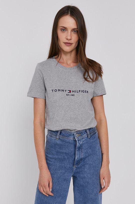 Tommy Hilfiger - Bavlnené tričko sivá