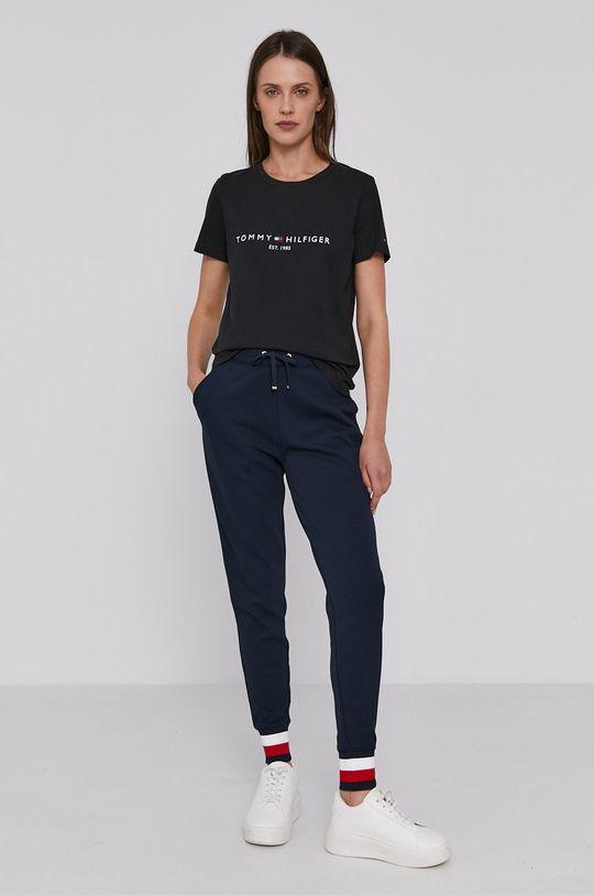 Tommy Hilfiger - T-shirt bawełniany czarny
