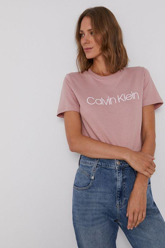 różowy Calvin Klein - T-shirt bawełniany Damski
