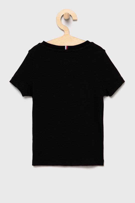 Tommy Hilfiger - T-shirt bawełniany dziecięcy czarny