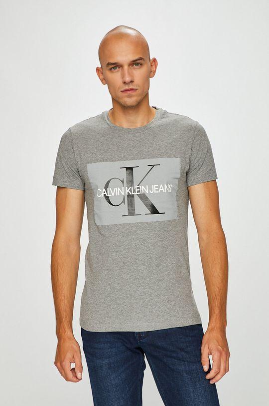 szary Calvin Klein Jeans - T-shirt Męski