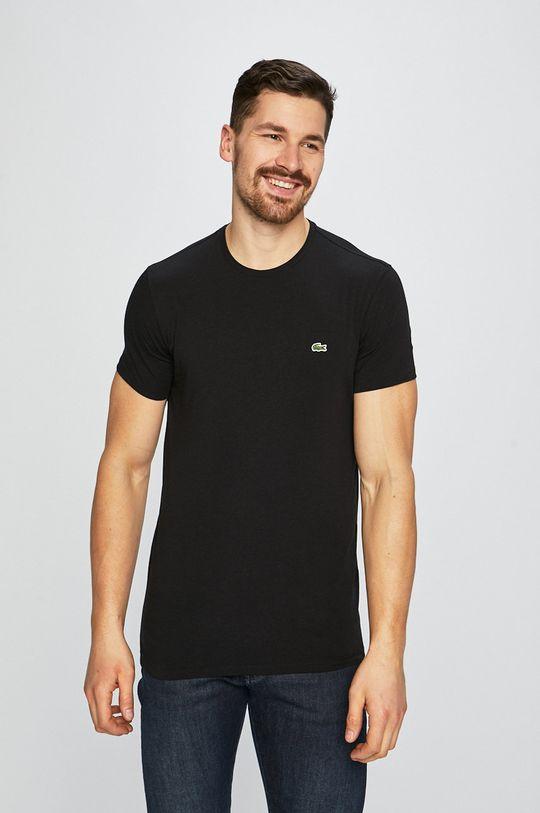 czarny Lacoste - T-shirt Męski