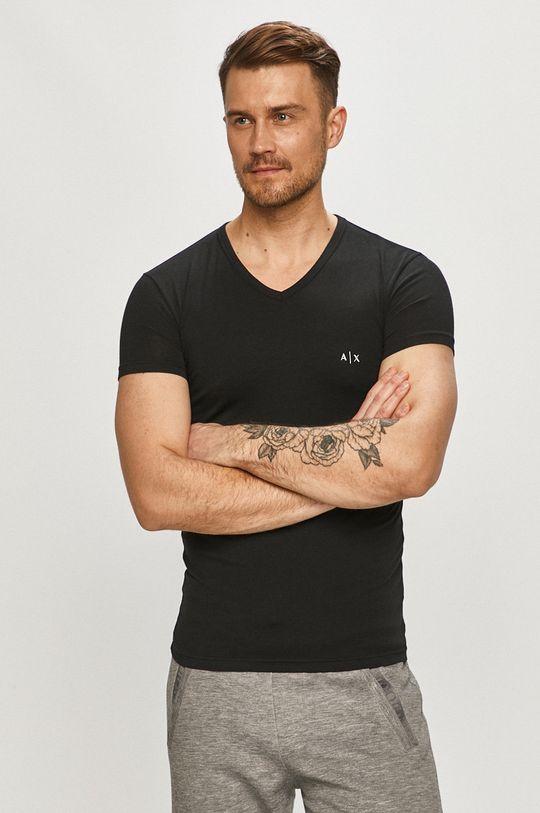 černá Armani Exchange - Tričko (2-pack) Pánský