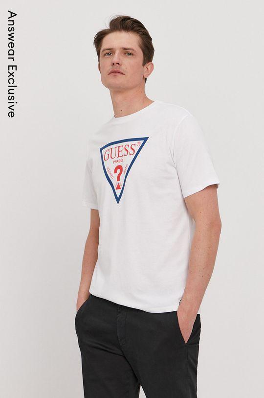 biela Guess - Tričko z narodeninovej kolekcie Pánsky