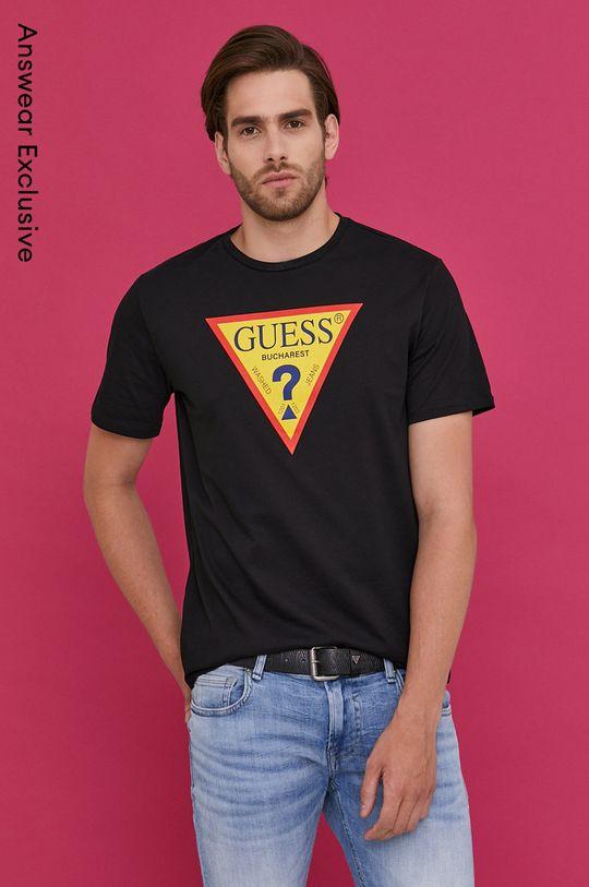 čierna Guess - Tričko z narodeninovej kolekcie Pánsky