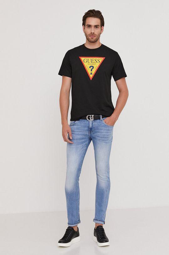 Guess - Tričko z narodeninovej kolekcie čierna
