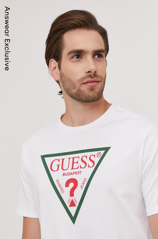 alb Guess - Tricou din colectia aniversara De bărbați
