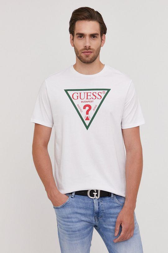 alb Guess - Tricou din colectia aniversara