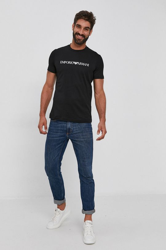 czarny Emporio Armani - T-shirt bawełniany Męski