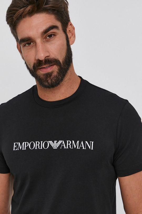 czarny Emporio Armani - T-shirt bawełniany