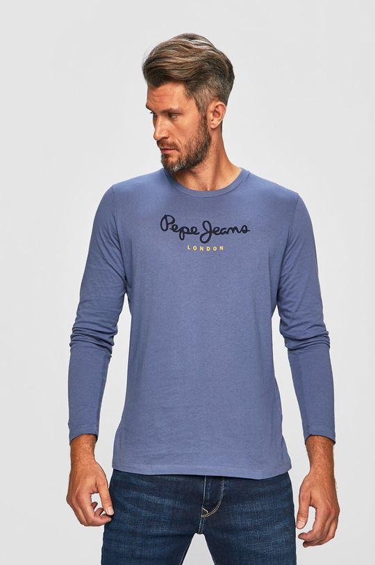 ocelová modrá Pepe Jeans - Tričko s dlouhým rukávem Pánský