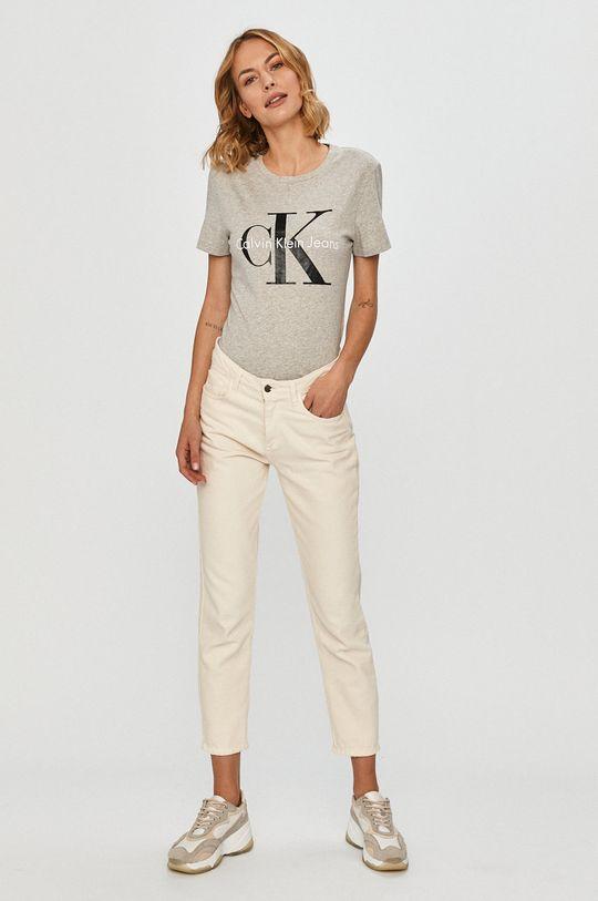 Calvin Klein Jeans - Футболка світло-сірий
